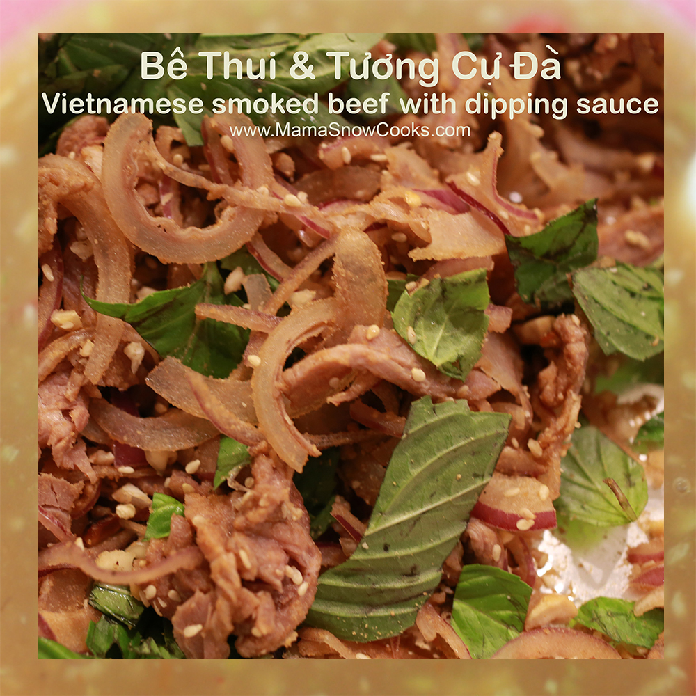 Vietnamese Smoked Beef with Dipping Sauce - Be Thui voi Tuong Cu Da
